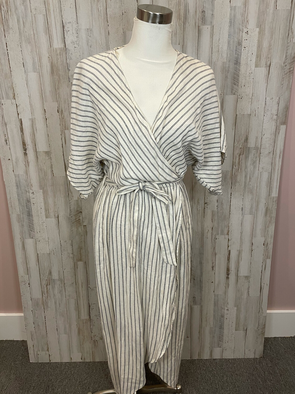 Lovestitch Cream Striped Belted Dress - S