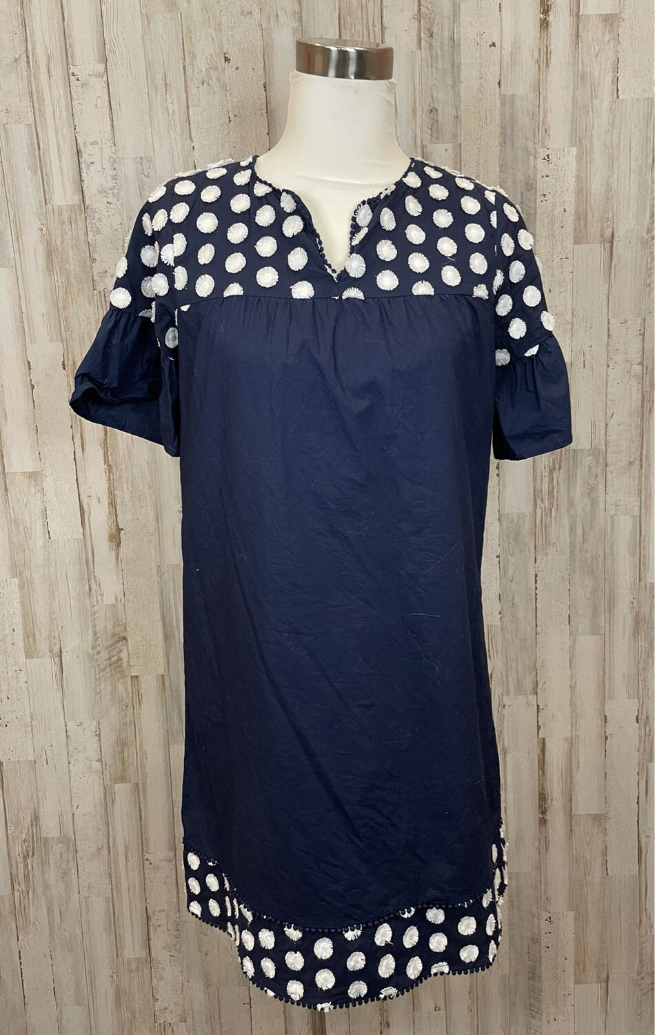 J. Crew Navy & White Embroidered Dress - Size 6