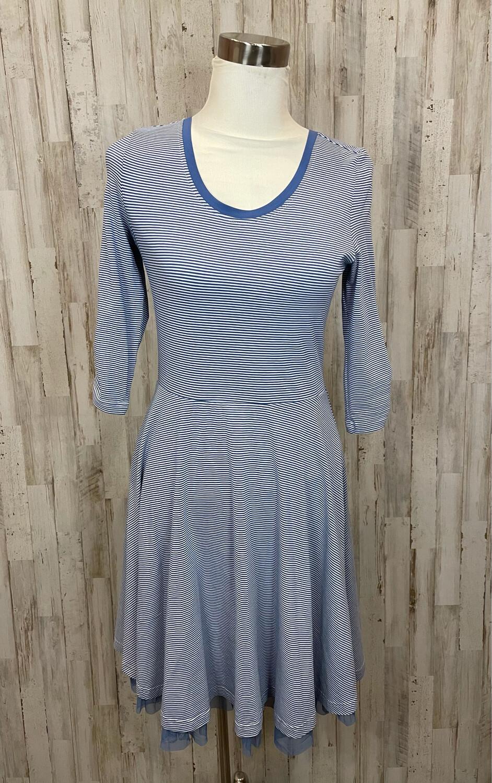 Matilda Jane Blue & White Striped Tulle Trim Dress - S