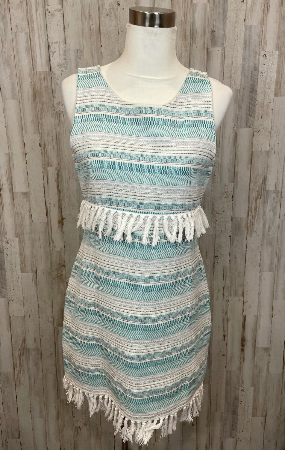 Cupcakes & Cashmere Teal & Cream Tassel Tank Dress - S