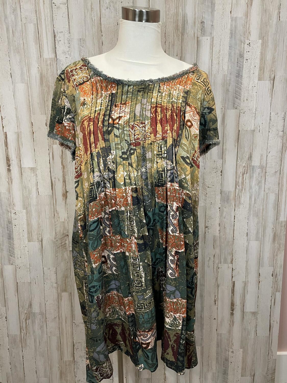 Hyku Earth Tones Patterned Dress w/ Pleats - L