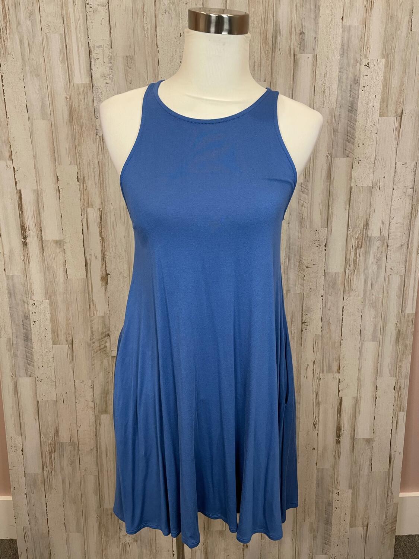 Lulu's Blue Skater Tank Dress w/ Pockets - S
