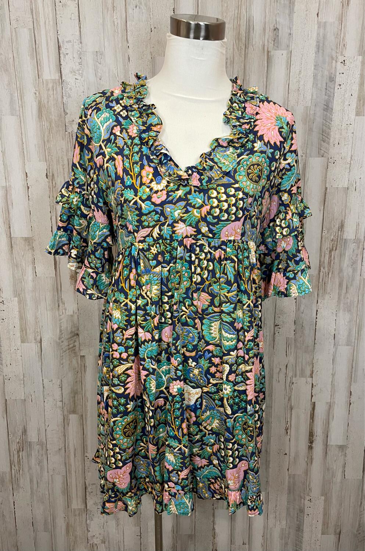 A&B Floral Ruffle Sleeve Dress - M