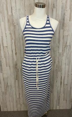 Lou & Grey White & Blue Striped Drawstring Maxi Tank Dress - XS