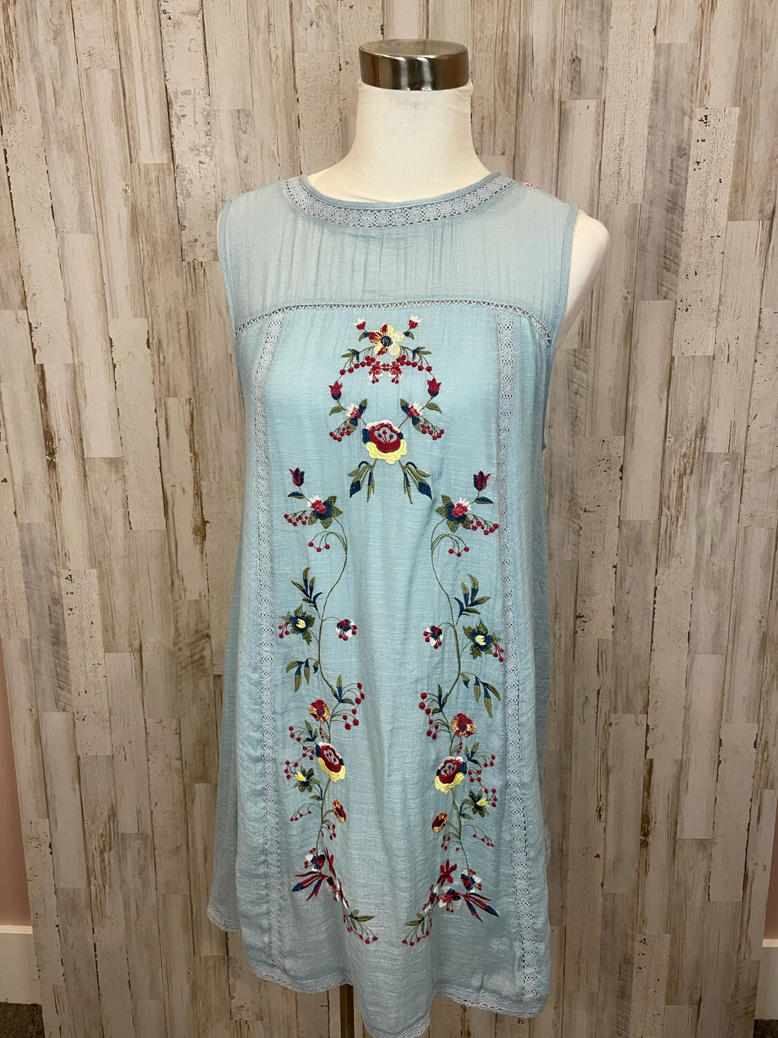Umgee Blue Embroidered Floral Dress - M