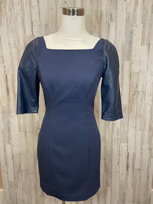 Black Halo Navy Dress w/ Faux Leather Sleeves - Size 6