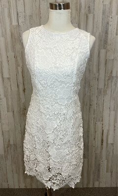 Beige by Eci White Floral Embroidered Dress - Size 6