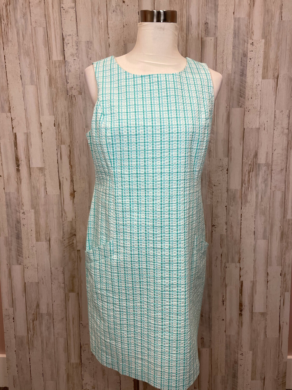 Southern Tide White & Green Seersucker Plaid Tank Dress - Size 10