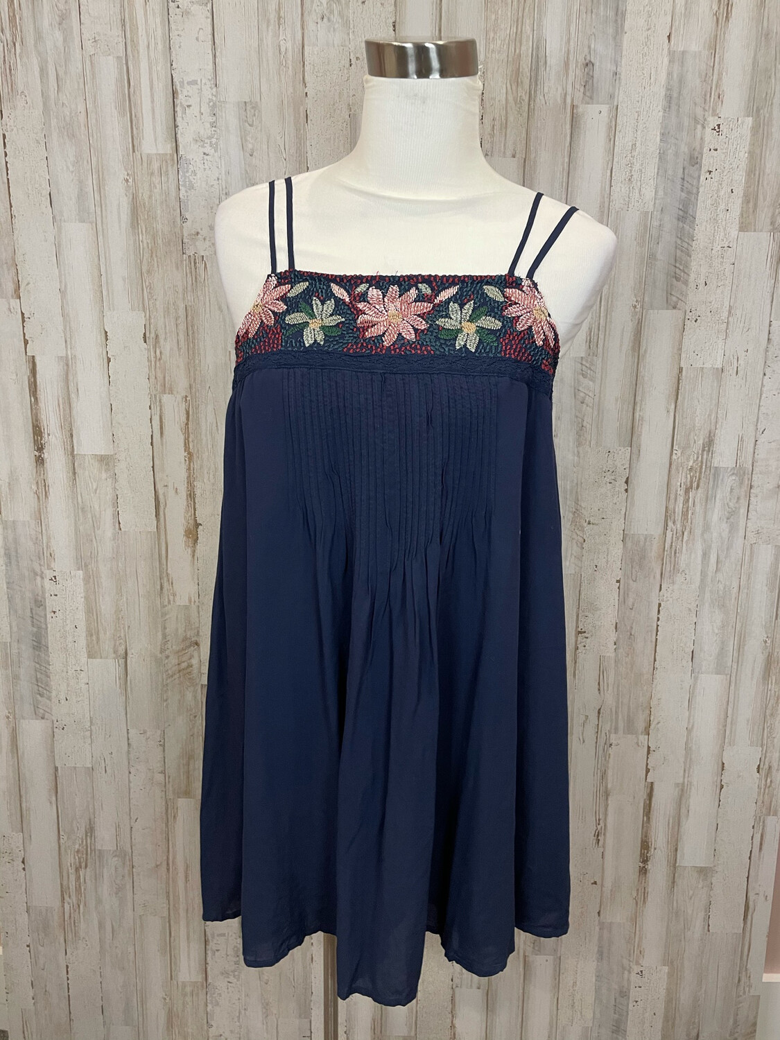 American Eagle Navy Dress w/ Floral Embroidery - S