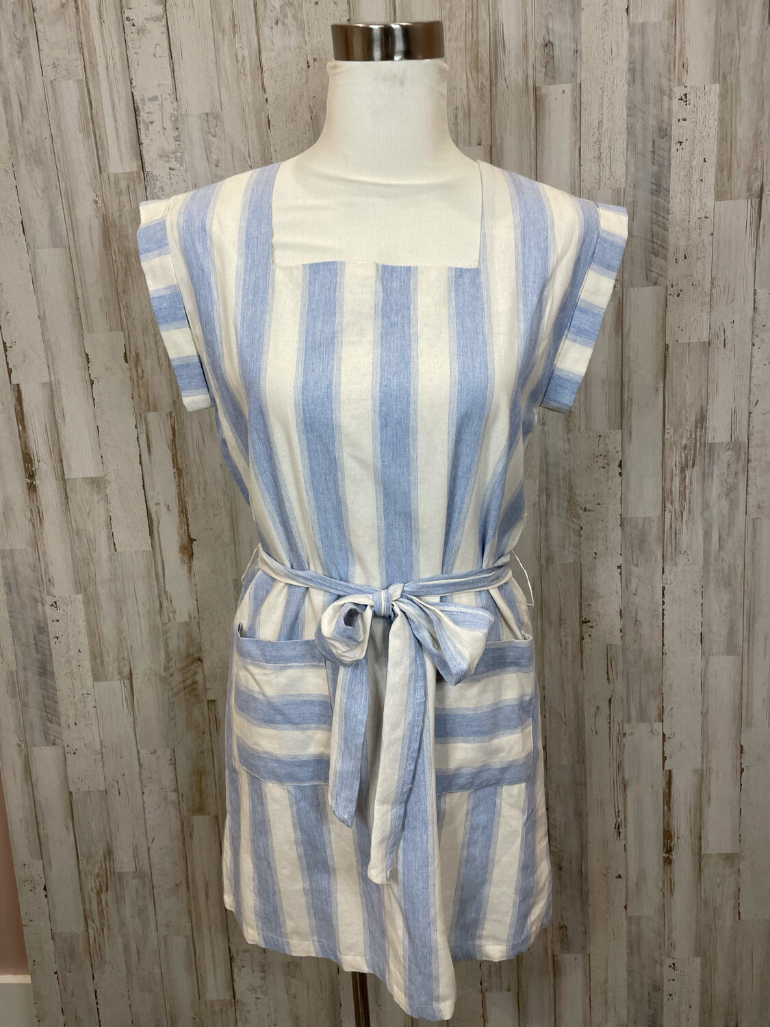 &Merci Blue & White Striped Belted Double Pocket Dress - M