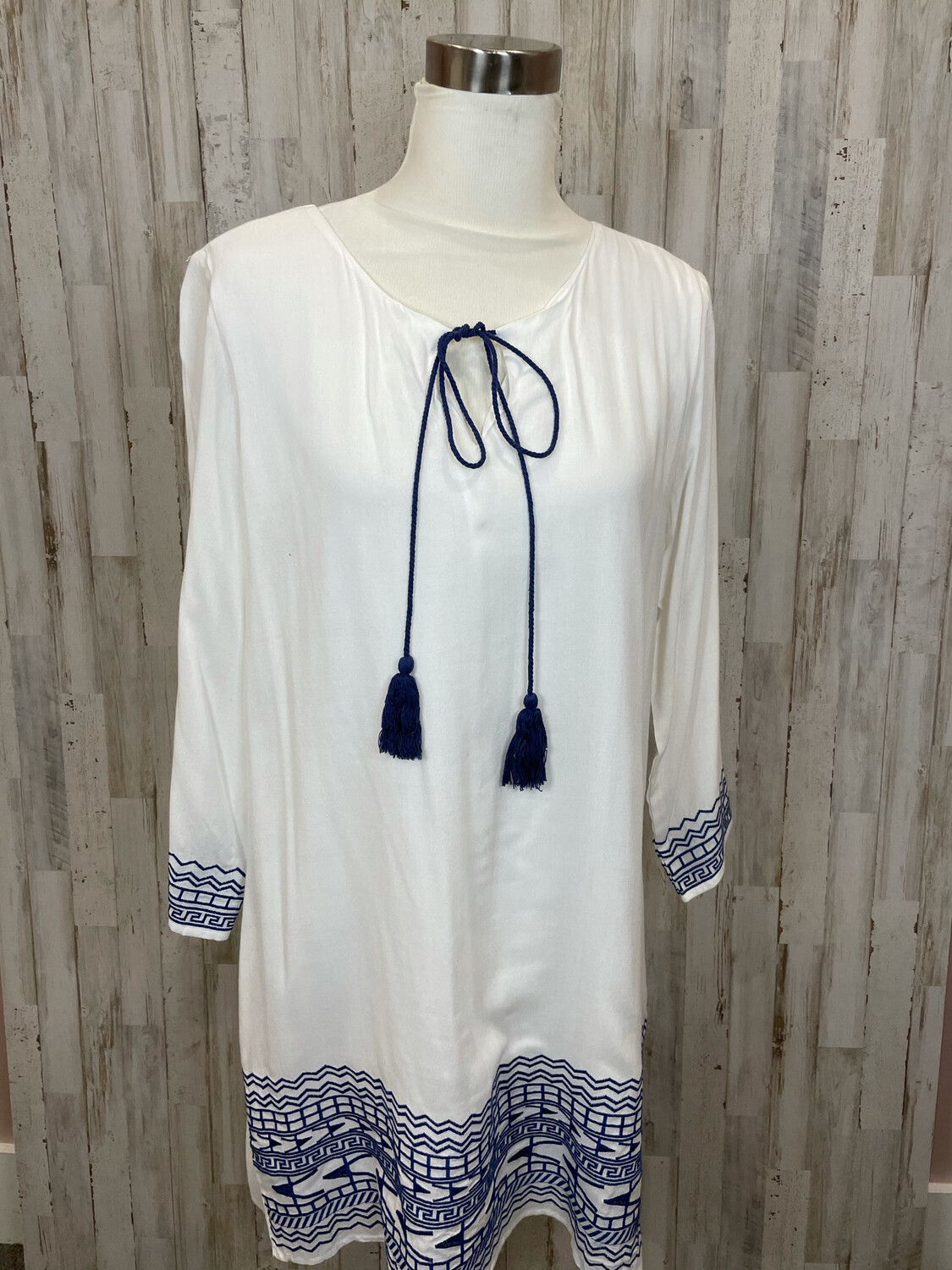 Entro White Dress w/ Navy Embroidery and Tassels - M