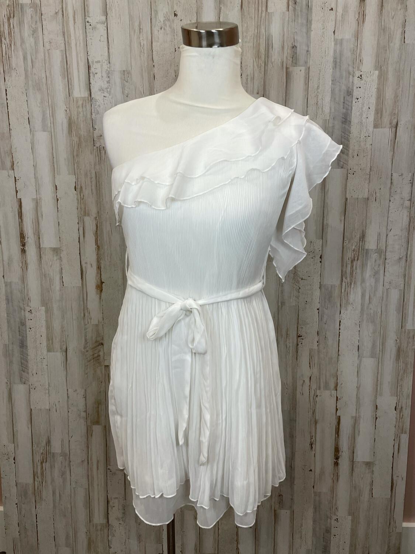 Ya Los Angeles White Single Sleeve Belted Dress - M