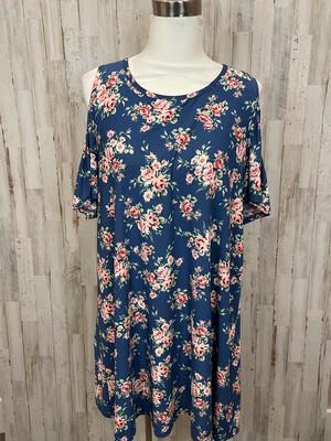 Tres Bien Blue & Pink Floral Cold Shoulder Dress - L