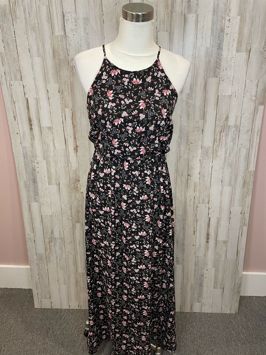 Everly Black & Pink Floral Maxi Dress - S