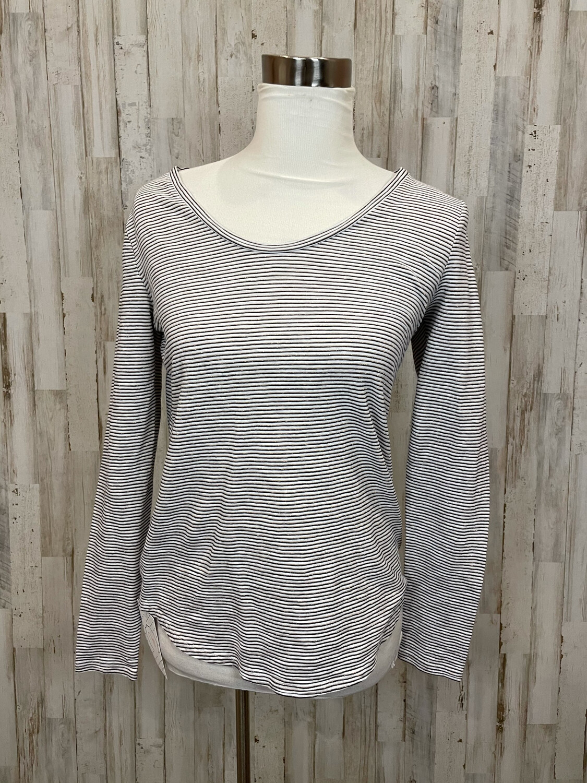 LOFT White & Black Shimmer Striped Long Sleeve Tee - M