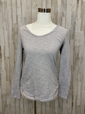 LOFT White & Black Shimmer Striped Long Sleeve Tee - M