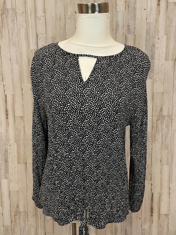 Cotton Bleu Black & White Dot Print Front Tie Long Sleeve Top - S