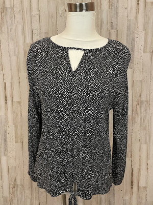 Cotton Bleu Black & White Dot Print Front Tie Long Sleeve Top - S