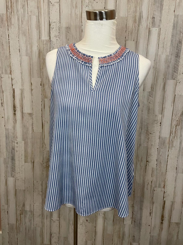 Hen & Thread Blue & White Striped Flow Tank w/ Embroidered Neckline - S