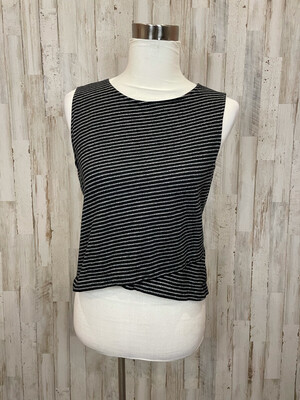 Madewell Black & Grey Crossover Striped Tank - M