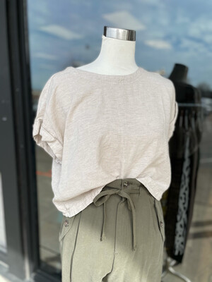Carly Jean Natural Linen Cropped Top - M