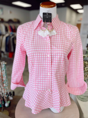 Ralph Lauren Pink & White Plaid Peplum Button Up - Size 6