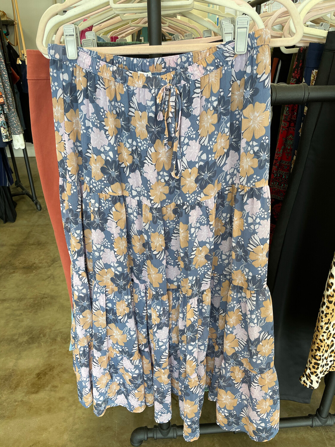 Aerie Blue & Pink Floral Drawstring Maxi Skirt - L