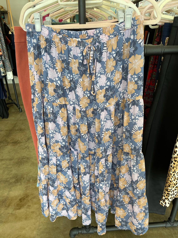 Aerie Blue & Pink Floral Drawstring Maxi Skirt - L