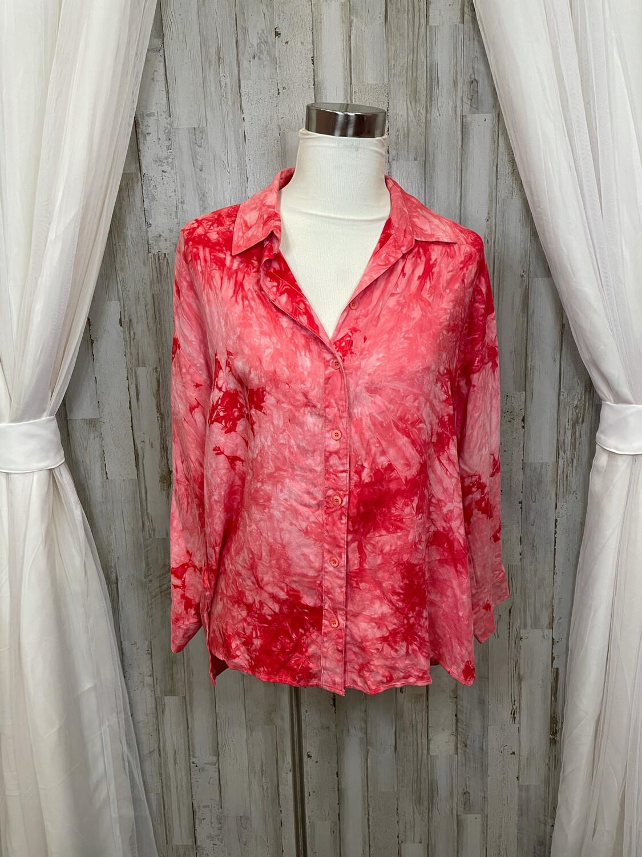 Velvet Heart Pink Tie Dye Button Down Top - M