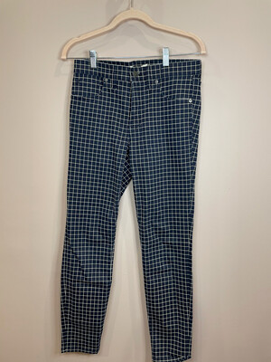 Madewell Navy & White Square Patterned Skinny Jeans - Size 27