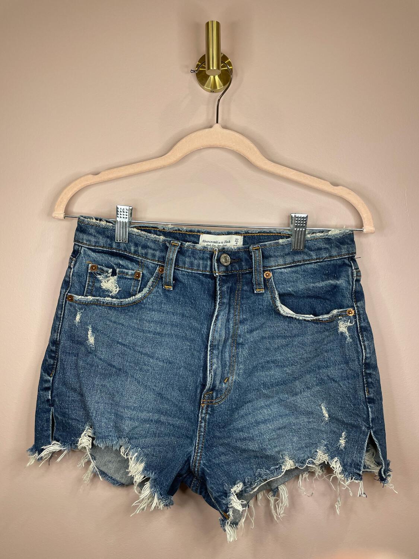 Abercrombie & Fitch Medium Wash Distressed Denim Shorts - Size 27
