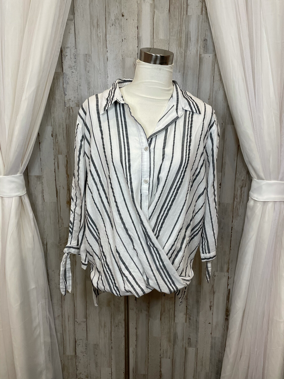 Hopely White & Grey Striped Oversized Crossover Top - S