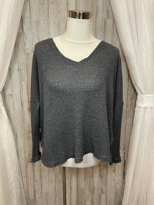Out From Under Grey Waffle Knit Vneck - XS