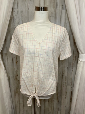 Madewell Cream Top w/ Colorful Square Pattern & Front Tie - M
