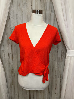 Madewell Red Wrap Top - XS