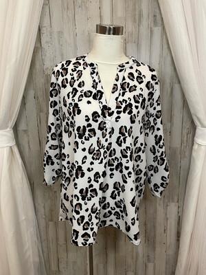 Kori America White Leopard Print Blouse - S