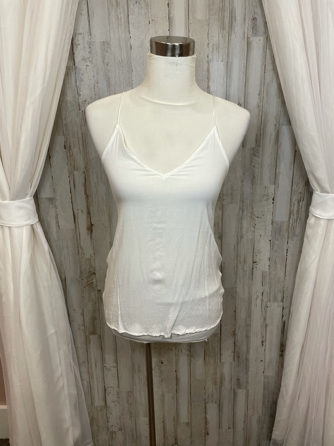 Silence + Noise White Tank w/ Lace Up Back - S