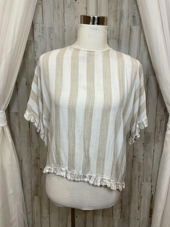Esley Tan & White Striped Ruffle Trim Top - M