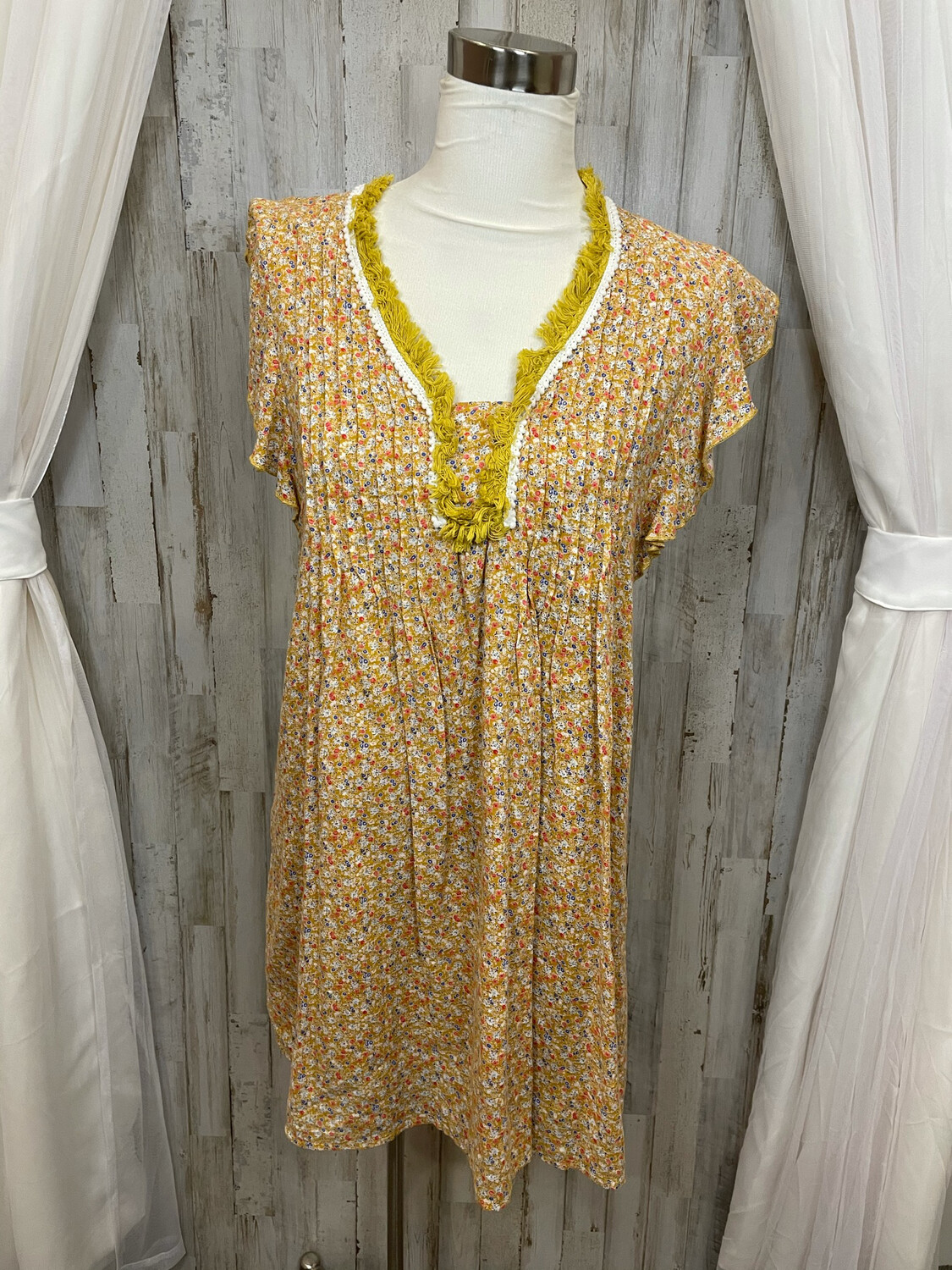 Hayden Yellow Floral Dress with Fringe Accent - S