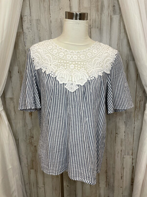 Listicle Blue & White Striped Top w/ Embroidered Neckline - S