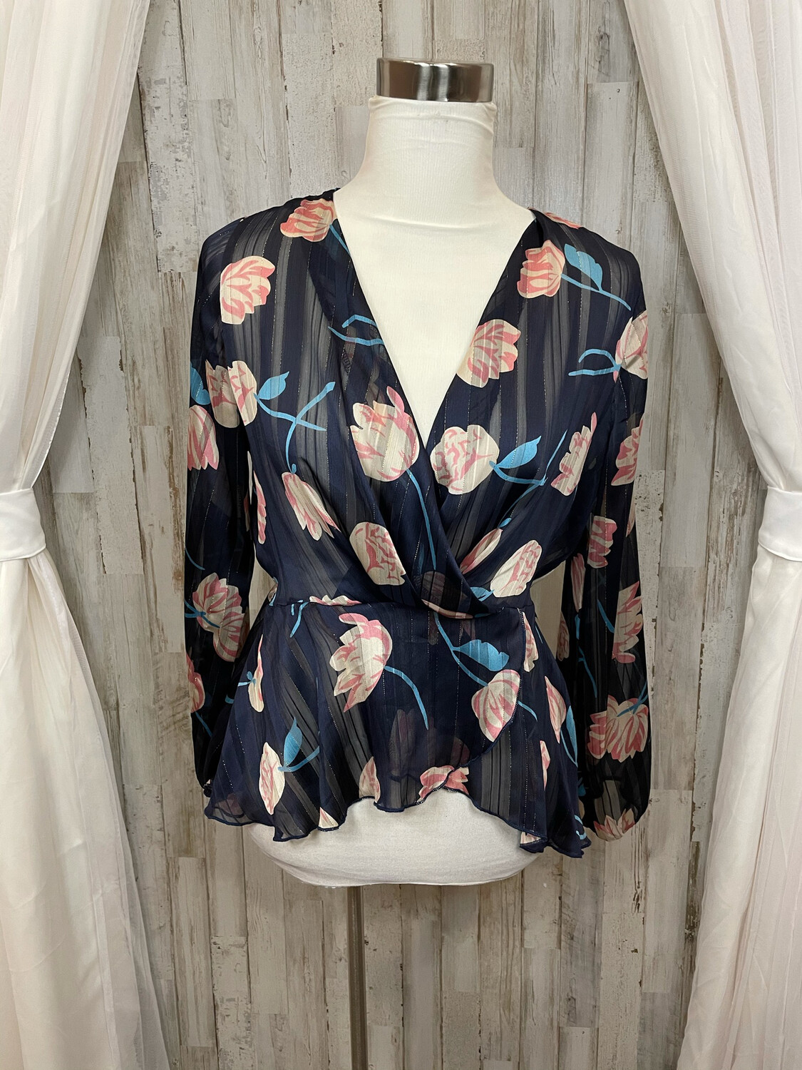 Westmoon Navy Sheer Floral Blouse - S
