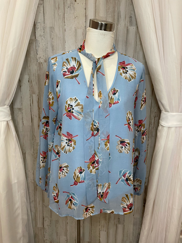 Entro Sky Blue Floral Top w/ Neck Tie & Balloon Sleeves - M