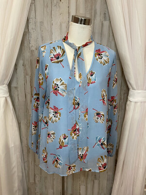 Entro Sky Blue Floral Top w/ Neck Tie & Balloon Sleeves - M
