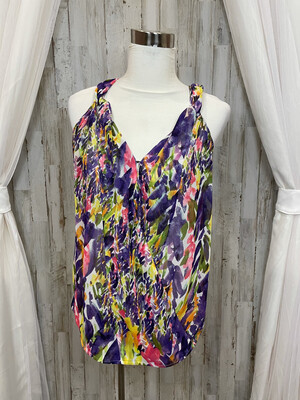 CAbi Purple Pink & Yellow Floral Crossover Tank Blouse - XS