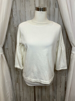 Vineyard Vines Cream Flared Sleeved Thick Top - S