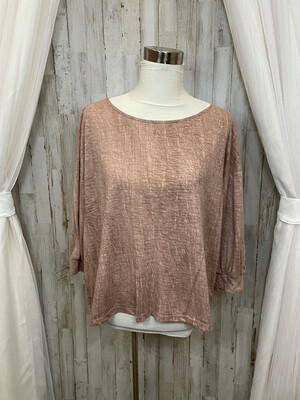 Grade & Gather Dusty Rose Burnout Cropped Sleeve Top - S