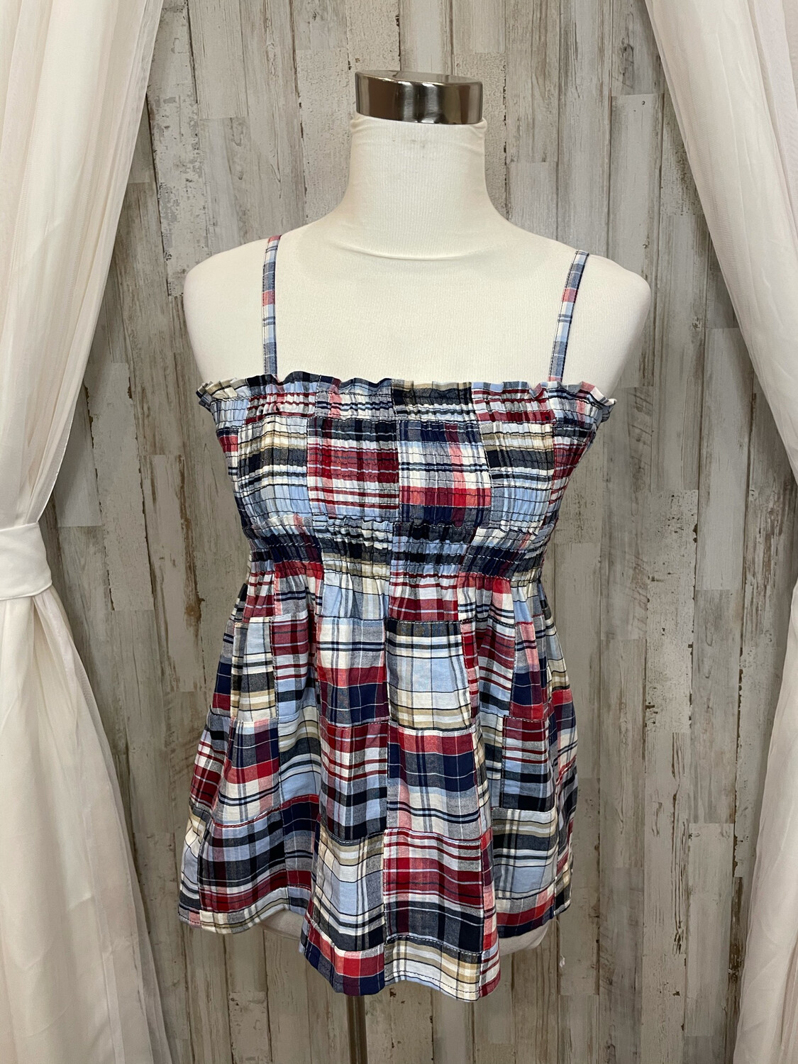 LOFT Red White & Blue Plaid Smocked Top - M
