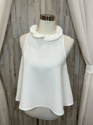 Do + Be White Neck Tie Flow Top - S
