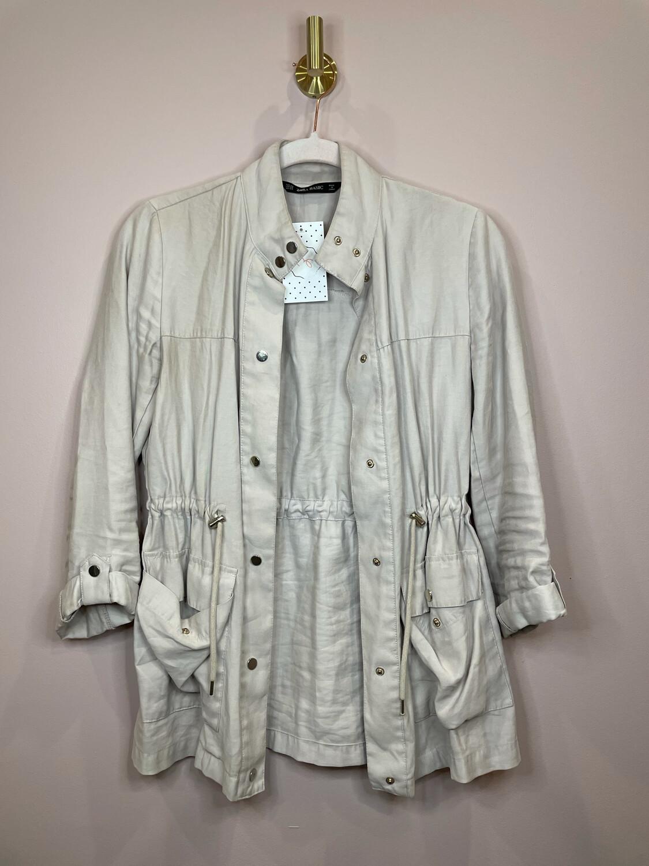 Zara Cream Drawstring Cinch Waist Jacket - XS