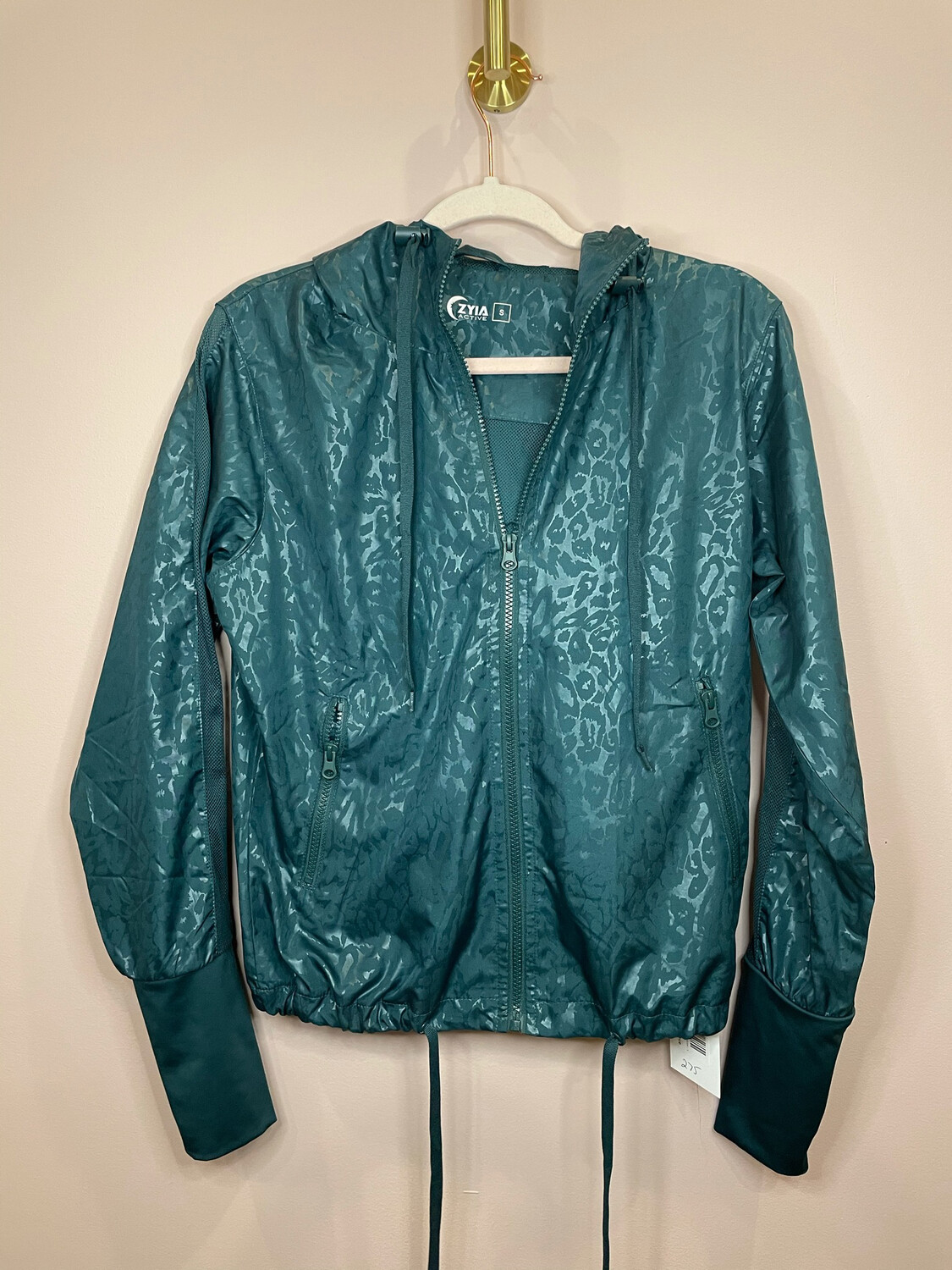 Zyia Active Emerald Green Hooded Zip Up Jacket - S